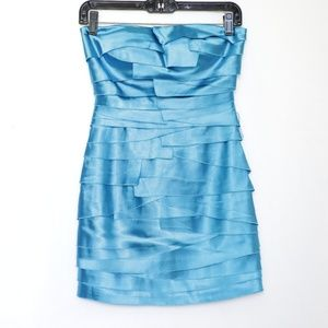 Bebe Shiny Blue Strapless Mini Cocktail Dress XXS